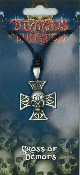 Pewter Pendant Cross and Skull PPK1012