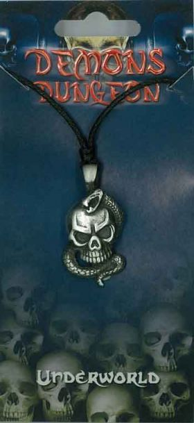 Pewter Pendant Skull and Snake PPK1039